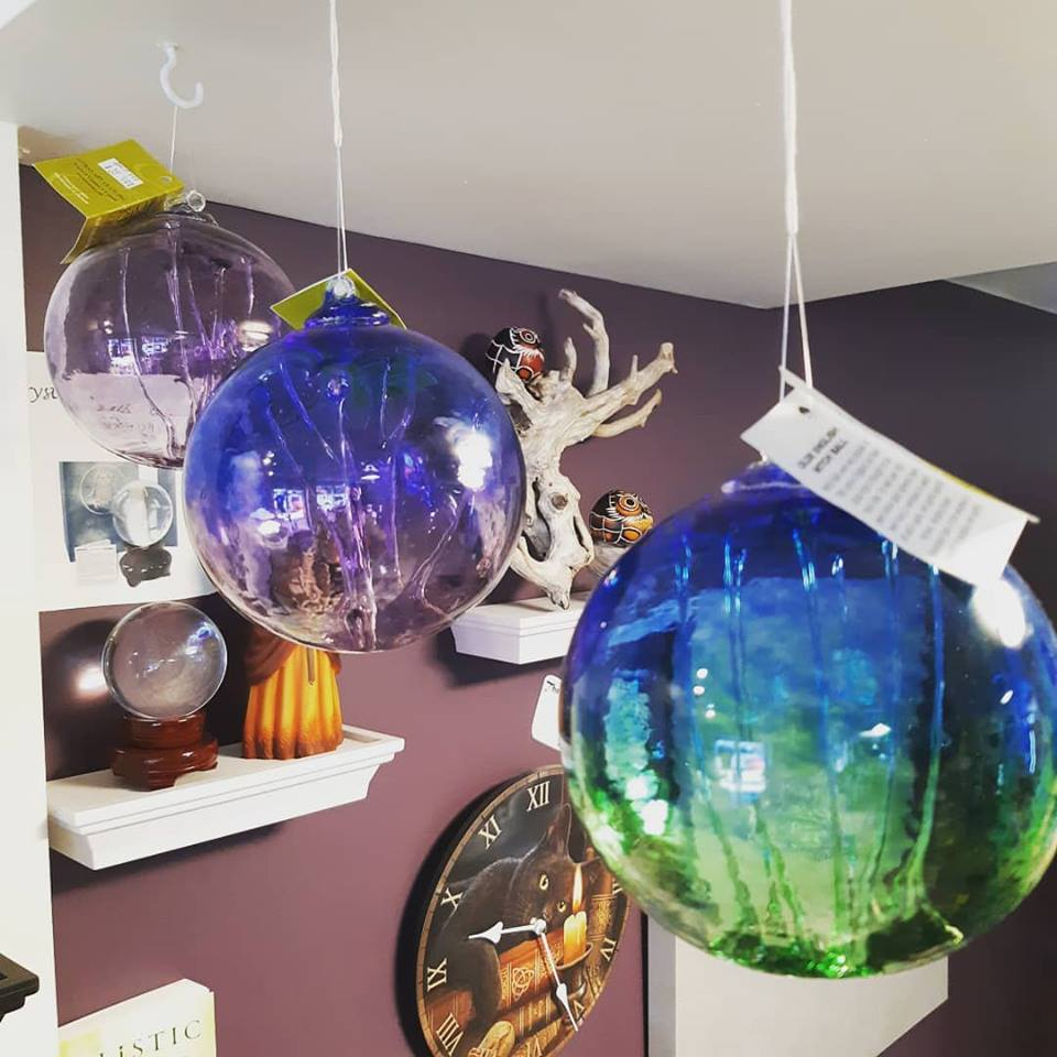 These decorative glass balls, or Olde English Witch Balls, are beautifully handcrafted in Ontario!