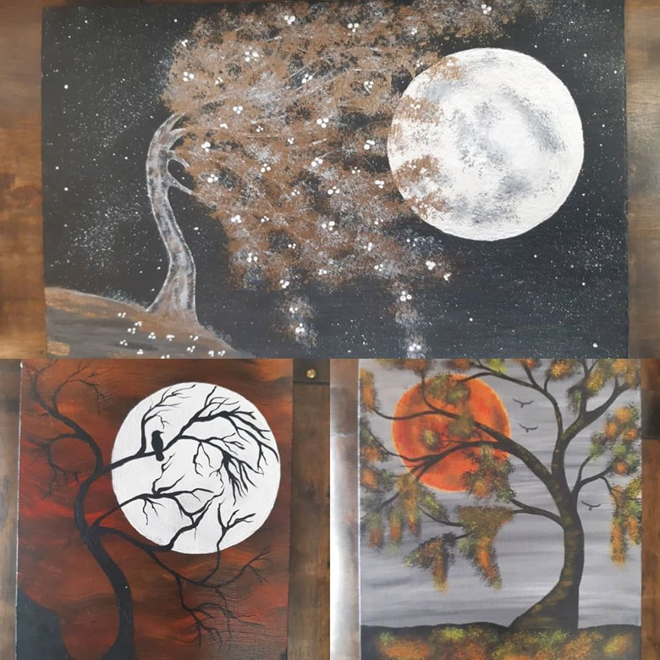 Just arrived at the Emporium! Gorgeous Moon paintings by Mind's Eye Art!